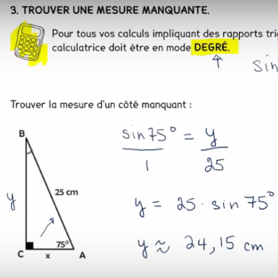 Trouver la mesure d'un côté dans le triangle rectangle